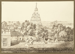 View of a temple erected by Maharaja Mitrajit Singh in the W. suburbs of Patna City (Bihar), taken from the terrace of the Raja's house. 25 October 1824